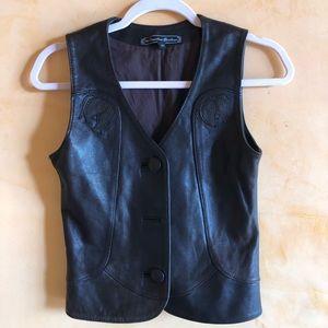 Vintage espresso leather Vest. SZ small